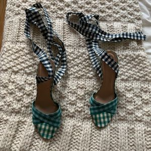 J. Crew Multi-color gingham lace up heeled sandals